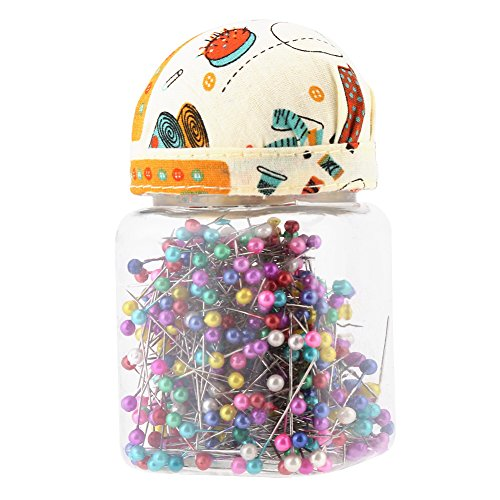 (FTVOGUE 500Pcs/Bottle Colored Beads Needle Glass Ball Head Pins Sewing Craft Decor Sewing Accessories 38MM)