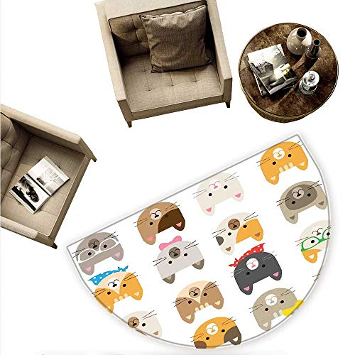 Print Pinzon (Kids Semicircle Doormat Cats Costume with Glasses Bow Tie Bandanna Cartoon Art Craft Pattern Print Pets Animal Lovers Print Halfmoon doormats H 59