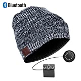 Zibaar Latest Bluetooth V4.1 Wireless Bluetooth Headphone Beanie; Combined with Removable Bluetooth Headset; Hands Free Talking; Mix Color Knit with Cuff Design - Unisex - Mixed B/W