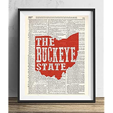 Ohio The Buckeye State Upcycled Dictionary Art Print 8x10