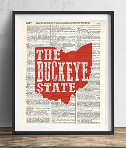 Ohio The Buckeye State Upcycled Dictionary Art Print 8×10