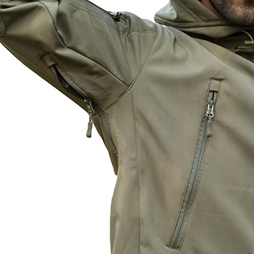 ReFire Gear Men's Army Special Ops Military Tactical Jacket Softshell Fleece Hooded Outdoor Coat, Army Green, Large