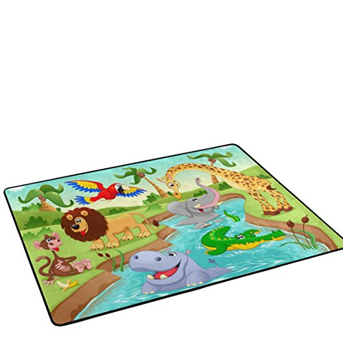 My Little Nest Cartoon African Jungle Animals Kids Play Mat Baby Crawling Carpet Non Slip Soft Educational Area Rug for Living Room Bedroom Classroom 4' x 6' by My Little Nest (Image #1)