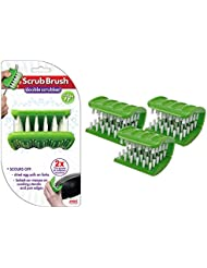 Scrub Brush (3 Pack), Double Sided Kitchen Scrubbing Brush, Easy Grip Dish Brush Folds Around Pans, Pots, Forks & Knives for Faster Cleaning Action, Dishwasher Safe