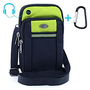 """UTIMES Casual Water Resistant Oxford Waist Pouch 6.5"""" Crossbody Shoulder Cell Phone Bag for iPhone 6/6S,6Plus/6S Plus,Samsung Note 5,Note 4,Galaxy S7,S7 Edge(Green)"""
