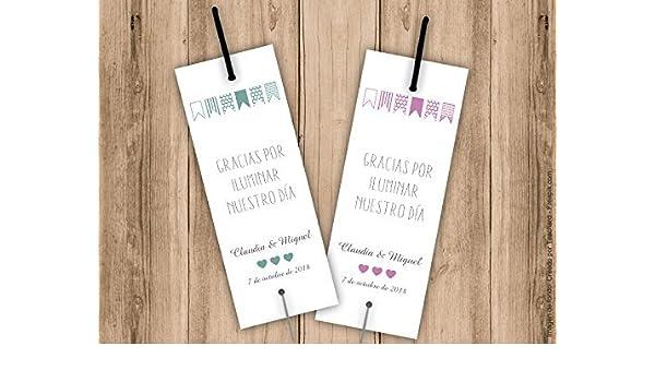 Tarjetas porta bengalas para bodas. Con el nombre de los novios y la fecha de la boda. Bengala NO incluida. Pack 25 unidades: Amazon.es: Handmade