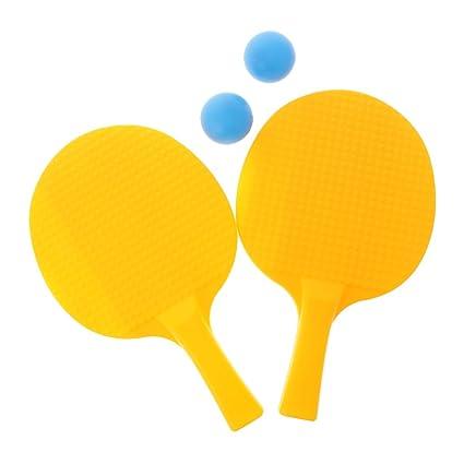 Sharplace Juguete Deportivo de Plástico Bola Raqueta de Ping Pong Juego de Mesa - Amarillo