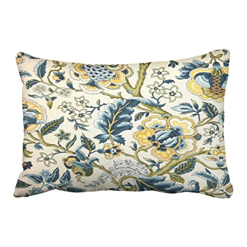 Shorping Zippered Pillow Covers Pillowcases 20X30 Inch Floral Jacquard Print Blue Yellow hues Decorative Throw Pillow Cover,Pillow Cases Cushion Cover for Home Sofa Bedding Bed Car Seats Decor