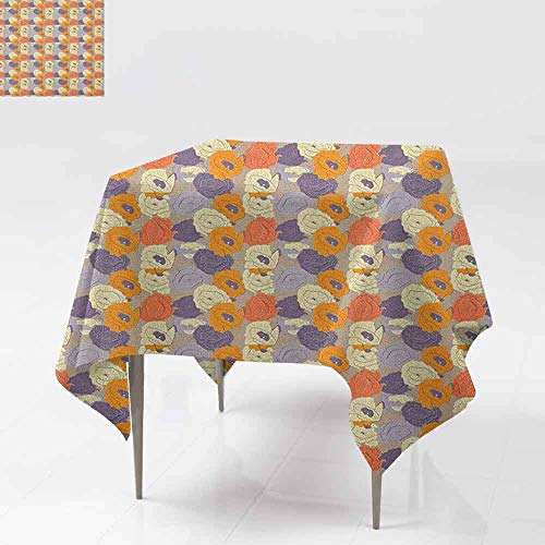 (DUCKIL Oil-Proof and Leak-Proof Tablecloth Retro Style Poppy Blossoms in Tender Spring Nature Inspired Pattern Great for Buffet Table W60 xL60 Multicolor)