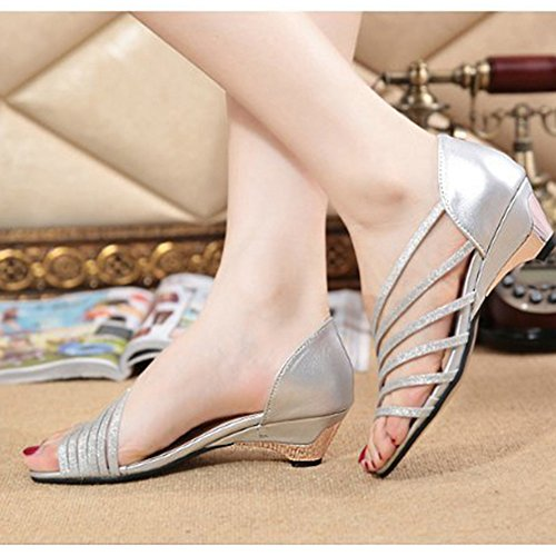 Scothen Zapatos las sandalias de las mujeres correa del tobillo romana Trenzado T-Correa Gladiador correa de los planos clip sandalias de punta zapatillas de playa del flip-flop de las mujeres Plata