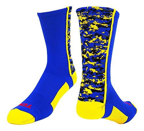 TCK Digital Camo Crew Socks (Royal/Gold, Large)