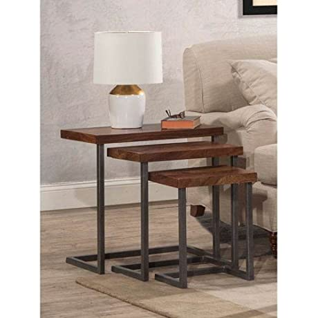 Hillsdale Emerson Nesting Tables Set Of 3 In Natural Sheesham