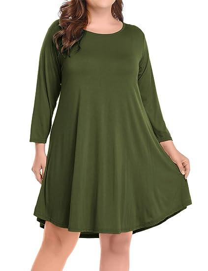 6439d4823a5bd BELAROI Women's Casual Flare Plain Simple 3/4 Sleeve T-Shirt Loose Dress