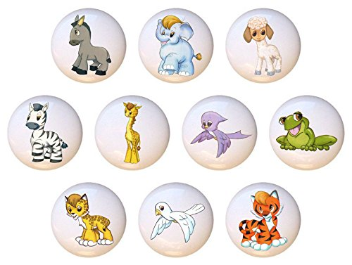 SET OF 10 KNOBS - Noah's Ark Animals - DECORATIVE Glossy CERAMIC Cupboard Cabinet PULLS Dresser Drawer KNOBS