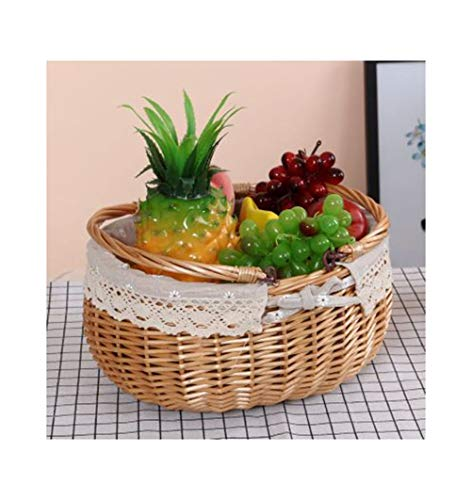 SGKJJ Fruit Baske Willow Woven Outdoor Fruit Plate Outing Fruit Dish Picnic Fruit Tray Storage Compor (color : F, Size : 16cm)