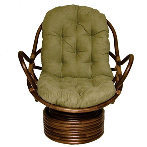 International Caravan 3310-MS-AB-IC Furniture Piece Rattan Swivel Rocker with Micro Suede Cushion by International Caravan