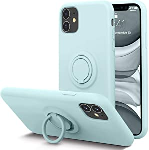 KUMEEK for iPhone 11 Case Fingerprint | Kickstand | Anti-Scratch | Microfiber Liner Shock Absorption Gel Rubber Full Body Protection Liquid Silicone Case for iPhone 11-Mint