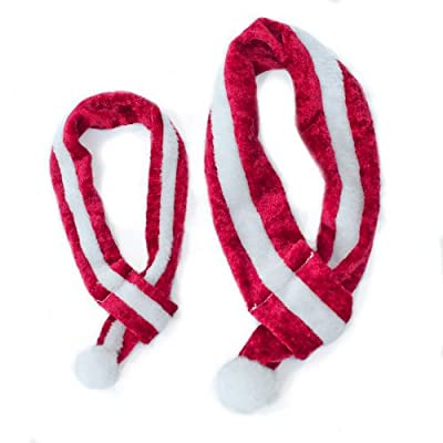 ZippyPaws Holiday Red-and-White Santa Scarf - Pet Accessory