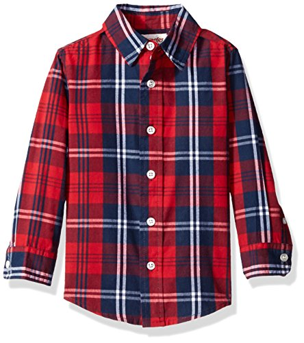 Navy Plaid Button Down Shirt (Wrangler Authentics Boys' Toddler Boys' Long Sleeve Woven Shirt, Red Plaid,)