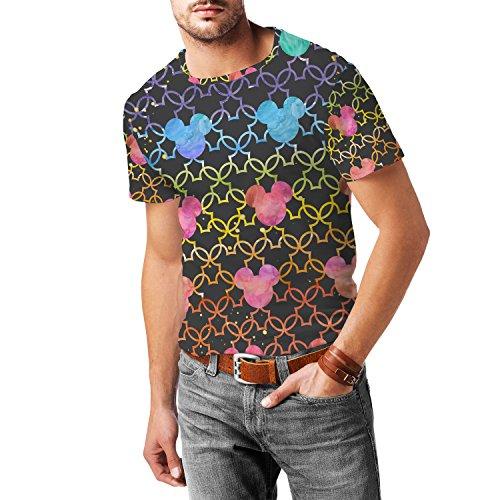Mickey Mouse Watercolor Rainbow Dark Mens Sport Mesh T-Shirt Herren XS - 3XL