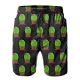 Mens Black Cactus Print Quick-Dry Lightweight Fashion Board Shorts Swim Trunks XXL