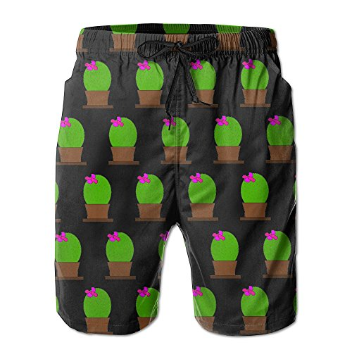 Mens Black Cactus Print Quick-Dry Lightweight Fashion Board Shorts Swim Trunks XXL by COOA