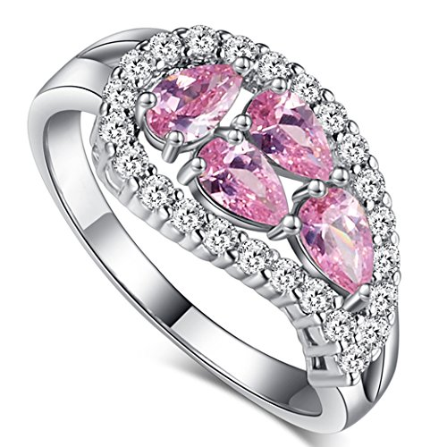 Created Heart Earring Ruby 5mm (Veunora Gorgeous 925 Sterling Silver Created 3x5mm Pear Cut Pink Topaz Filled Leaf Ring Size 9)