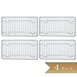 (Set of 4) Half-Size, Heavy Duty Wire Pan Grate - 8'' x 10'' - Cooling Rack - Chrome Plated
