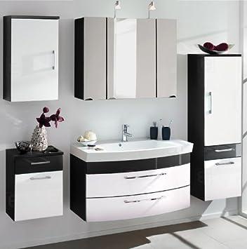 Komplett Badmöbel Hochglanz Weiß Anthrazit Badezimmer Waschplatz  Spiegelschrank