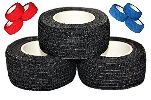 Sports grip tape by Bardownski (3 pack) - Use it to get a better grip on anything!Hockey stick grip tape. Baseball bat grip, weight grip, tennis grip, hunting grip, self adhesive wrap bandage (Black)