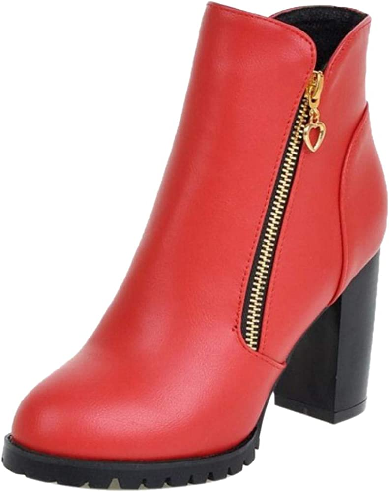 NIGHTCHERRY Women Block Heel Short Boots Zipper