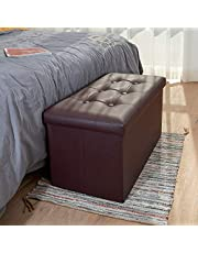 COSYLAND Ottoman with Storage Folding Leather Ottoman Footrest Foot Stool Ottoman for Kids Room Small Rectangle Collapsible Bench Furniture with Handles Lid