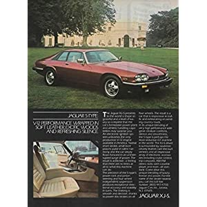 """Magazine Print ad: Red 1983 84 Jaguar XJ S S Type, English Country Estate Home scene,""""V 12 Performance Wrapped in Soft Leather, Exotic Woods, and Refreshing Silence"""""""