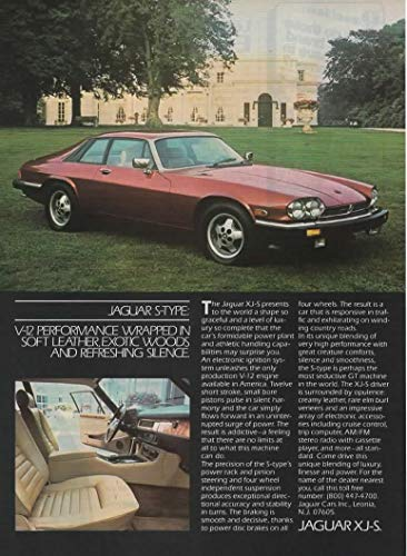 Magazine Print ad: Red 1983-84 Jaguar XJ-S S-Type, English Country Estate Home scene,