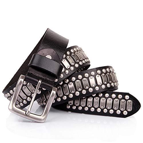 Dig dog bone Leather Belt for Unisex Adults Gothic Belts Handmade Steampunk Studded Punk Rock Blet (Size : 105cm) - Handmade Studded Bib