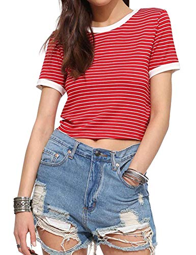 Women's Summer Casual Short Sleeves Crew Neck T Shirts Stripe Tees Crop Tops for Teen Girls (S, Red&White)