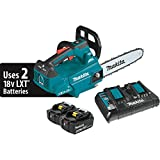 "Makita XCU08PT Lithium-Ion Brushless Cordless (5.0Ah) 18V X2 (36V) LXT 14"" Top Handle Chain Saw Kit, Teal"