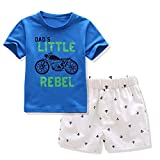 AJia Kids 2 Piece Short Sleeve Shirt and Shorts for 1 to 5 Years Olds Little Boy (2 Years(90), Blue/White)
