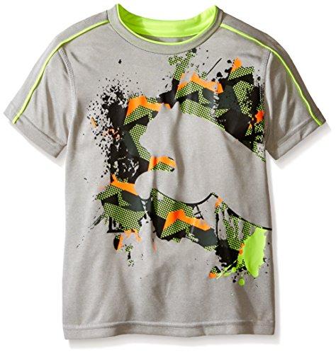 PUMA Little Boys' Active Short Sleeve Tee Shirt, Gray, 6