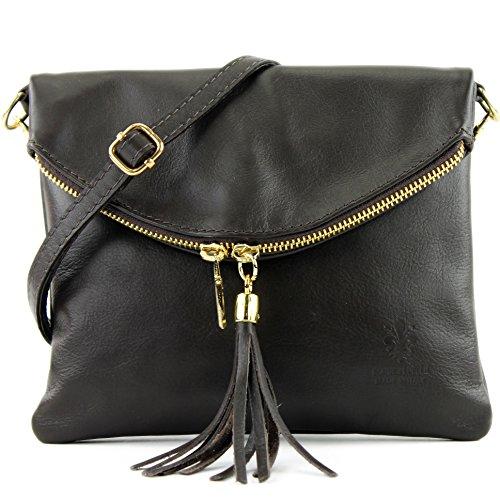 bolso de cuero ital. embrague bolsa de embrague bolsa bandolera de cuero pequeña muchacha T139 T139a Dark Chocolate
