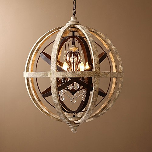 KunMai Rustic Retro Weathered Wooden Globe Metal Orb Crystal 5-Light Chandelier Candle Style Pendant Light for Kitchen Island Entry Area Living Room