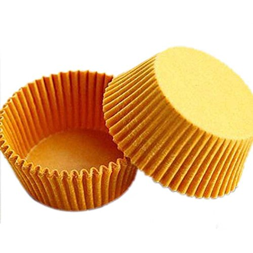 Outtop 480 Pcs Standard Baking Cups Bake Cake Paper Cups Little Liner Baking Cup Muffin Case Trays for Wedding Party Birthday Decoration (Yellow)