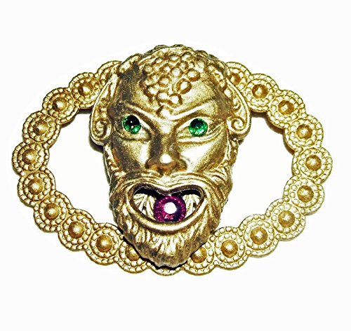 BACCHUS GREEK WINE GOD Brooch Sash Pin GREEN PURPLE GLASS CRYSTAL Accents Accent Sash