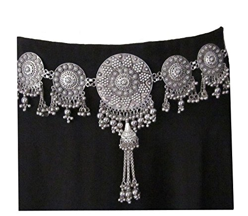 IndiaStop Handmade Womens Fashion Dress Sash Concho Boho Belt - Metal Chain Tassel Medallion Vintage Silver Wedding Bridal - Bohemian Gypsy Hippie Tribal Fusion Belly Dance Waist Decoration Jewelry