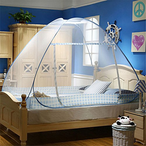 Vivian Portable Folding Pop Up Sleeping Mosquito Net Tent Canopy Curtains Beach Camping Travel Tent (1.2X2 m, Blue)