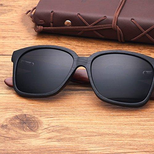 Unisex Gafas de acetato Sunglasses madera granos azul de Black en clásicas gafas de piernas TL el espejo Gray similar con sol nogal negro de EqxZXn55w