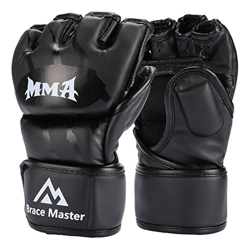 Brace Master MMA Gloves UFC Gloves Leather More Paddding for Men Women Knuckle Wrist Protection, Fingerless Sparring Gloves for Training, Kickboxing, Muay Thai, Boxing, Punching (Black, Small)