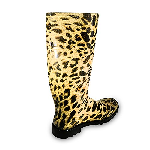 Kemi Kvinna Knähöga Gelé Regnar Kängor Leopard