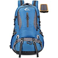 Hiking & Camping Day Backpack | Lightweight | Water Resistant | Size 30L | includes 10000 mah Solar Panel Battery Backup Power Charger