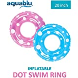 "aquablu Inflatable Inner Tube Cool Summer Swim Ring & Lounge Float for Pool Beach Lake River & More 20"" Diameter Polka Dot Design 2 Pack Perfect for Kids Teens & Adults Ages 6+"